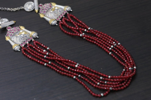 Ruby Beaded Dual Tone Necklace