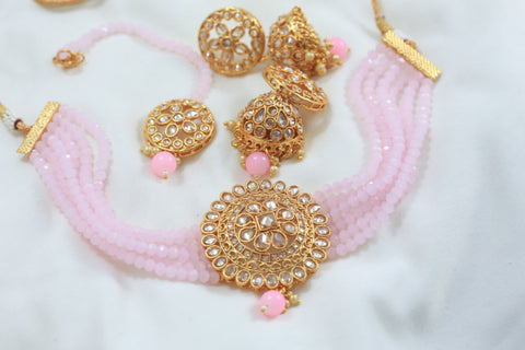 Polki Jhumka Teeka Necklace Set - Pink