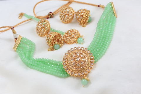 Polki Jhumka Teeka Necklace Set - Sea Green