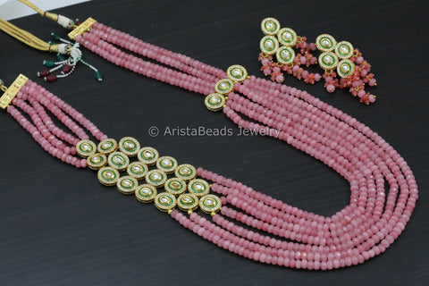 Long Layered Pink Kundan Necklace