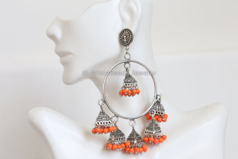 Large Oxidized Orange Jhumka