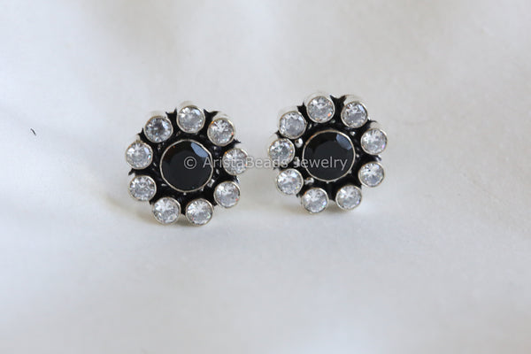 Silver Plated Black  Studs