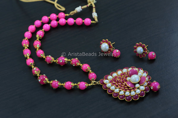 Pink Pearl Pachi Necklace Set