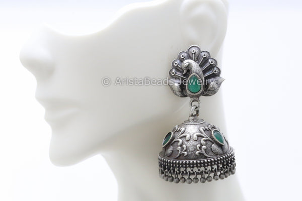 Emerald Peacock Silver Plated Jhumka