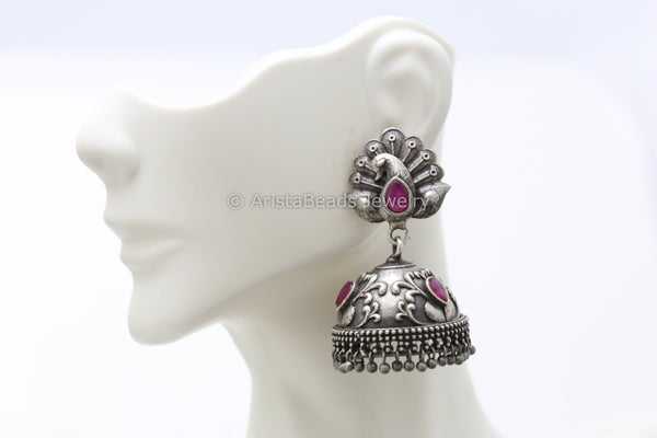Ruby Peacock Silver Plated Jhumka