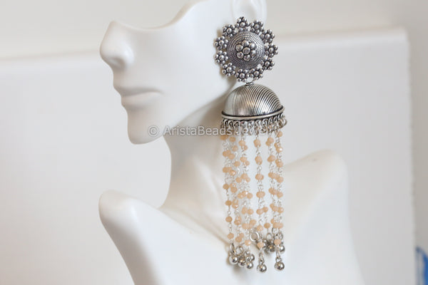 Large Tassel  Jhumka - Peach