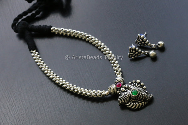 Peacock Thussi Necklace Set