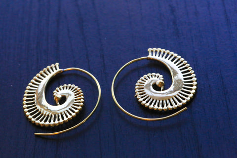 Peacock Tribal Brass Spiral Earrings - AristaBeads Jewelry - 1