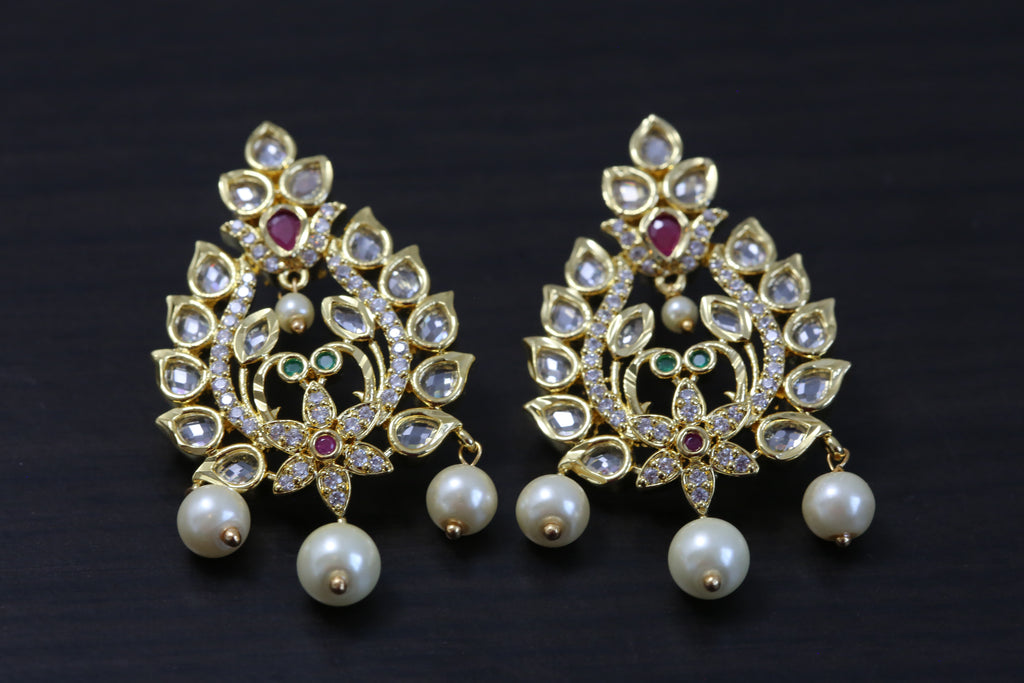 Peacock Ruby Emerald Polki Studs