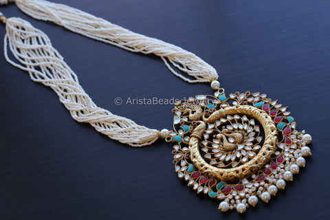 Sterling Silver Kundan Peacock Necklace