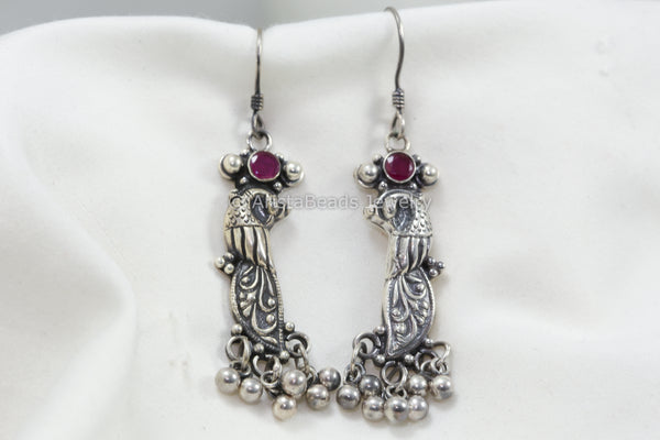925 Sterling Silver Peacock Ruby Earrings