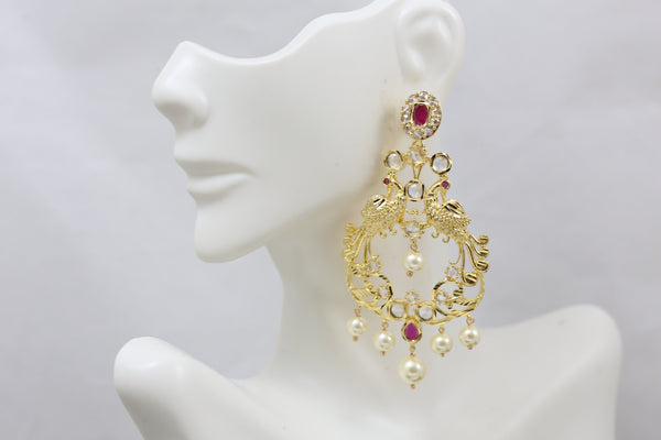 Gram Gold Ruby Peacock Chandbaali
