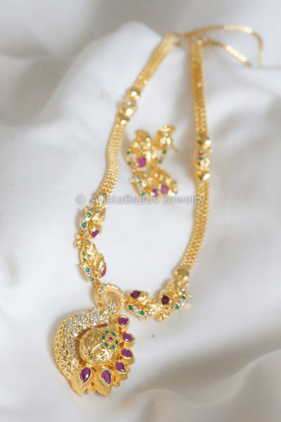 CZ Polki Peacock Necklace Set