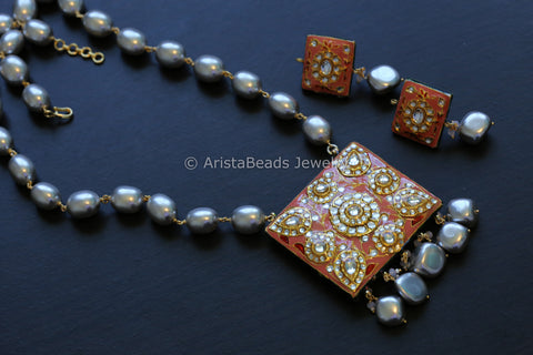 Grey Pearl & Pink Enamel Kundan Necklace Set