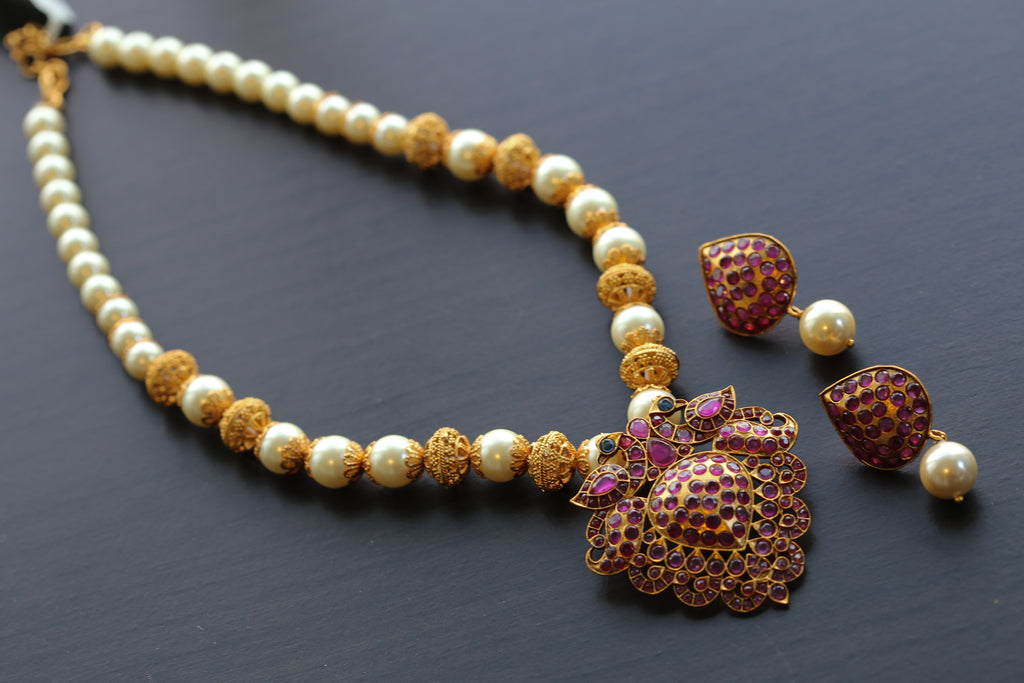 Ruby Polki Temple Necklace