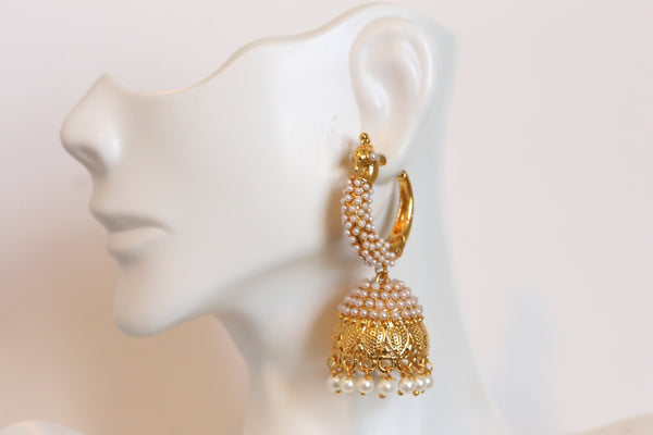 Antique Gold Pearl Jhumka