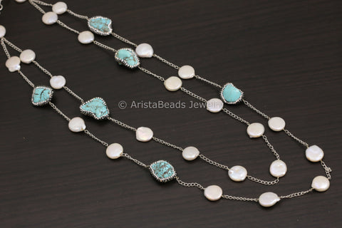 Contemporary Layered Turquoise Pearl Necklace