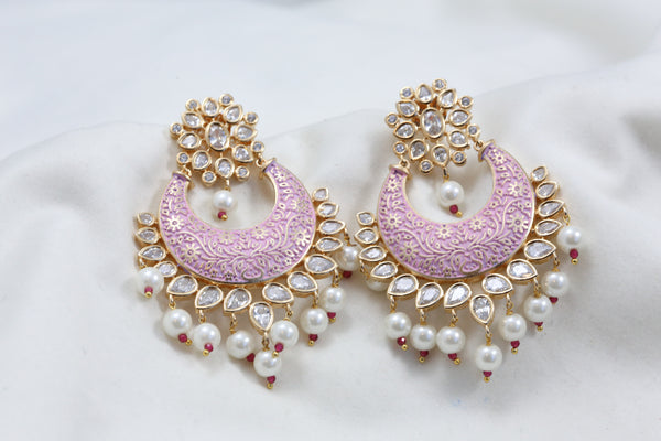 Ruby Pink Peacock Two Tone Jhumka