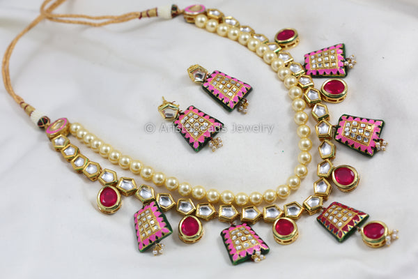 Pink Jadau Kundan Necklace