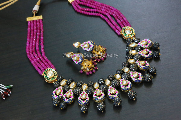 Pink Kundan Enamel Jadau Necklace