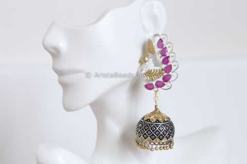 Peacock Ruby  Jhumka