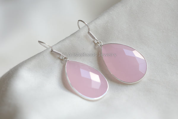 Rose Pink Silver Earring