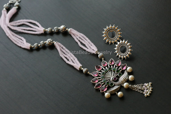 Tribal Pink Beaded Peacock Necklace