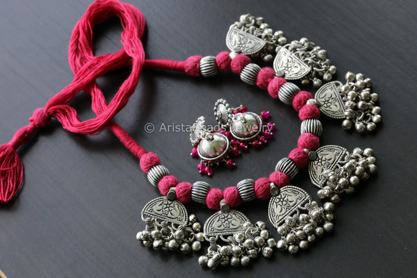 Pink Thread Oxidized Necklace