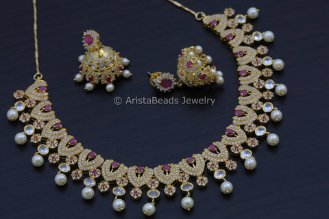 Ruby Necklace Jhumka Set