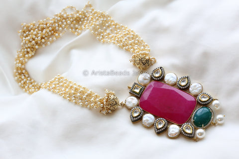 Contemporary Kundan Pearl Mala Necklace
