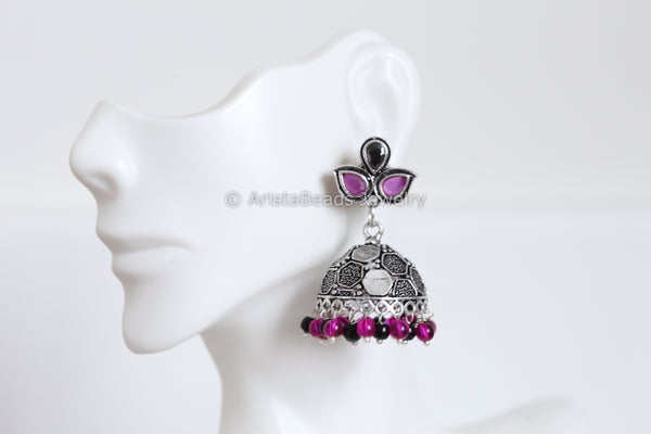 Oxidized Pink Black Jhumka