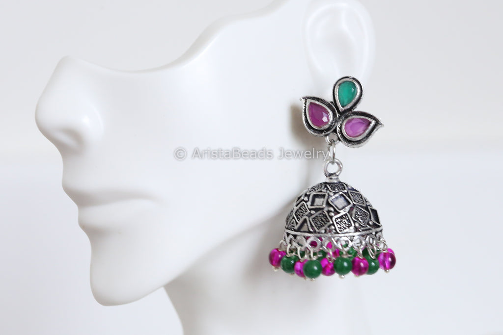 Oxidized Pink Green Jhumka