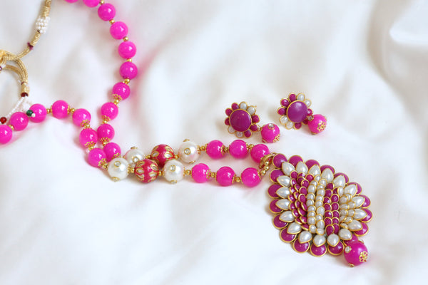 Pink Beaded Pachi Necklace Set