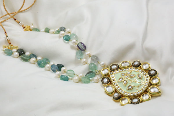 Pistachio Enamel Kundan Necklace