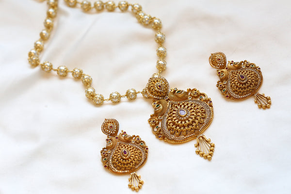 Matt Gold Antique Peacock Necklace