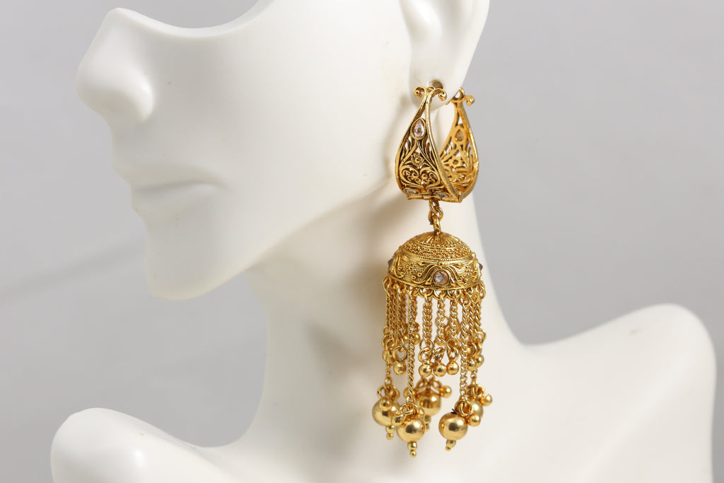 Antique Gold Tassel Jhumka