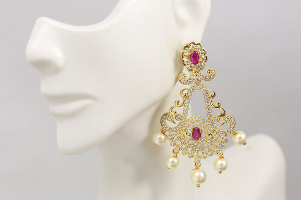 Diamond Look Ruby Chandbaali