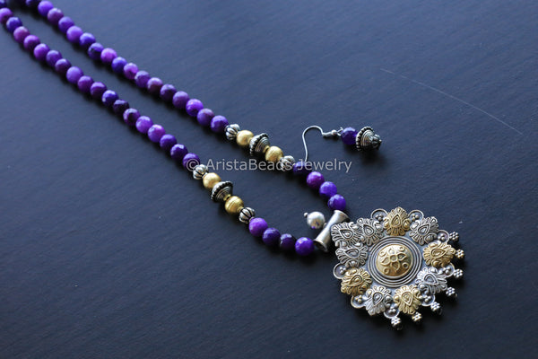 Dual Tone Purple Tribal Necklace