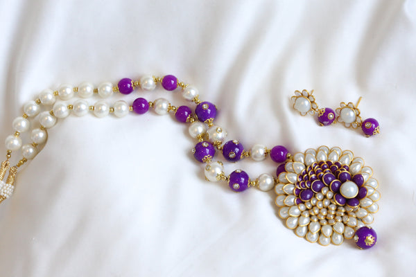 Purple Beaded Pachi Necklace Set