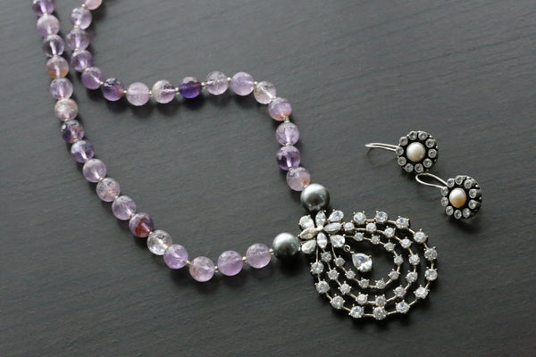Contemporary Lavender Beaded Necklace
