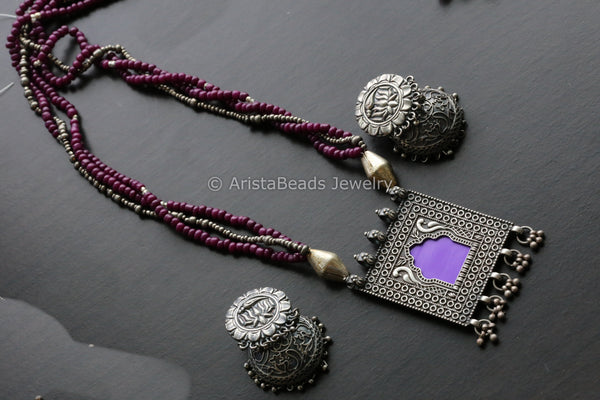 Silver Tone Purple Jharoka Necklace