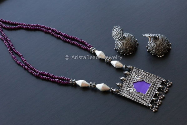 Purple Jharoka Oxidized Necklace