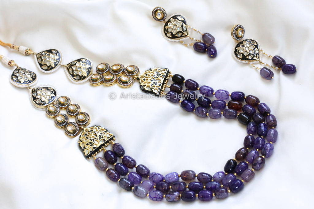 Contemporary Jadau Purple Kundan Necklace