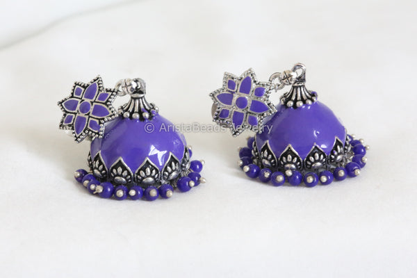 Large Purple Enamel Jhumka