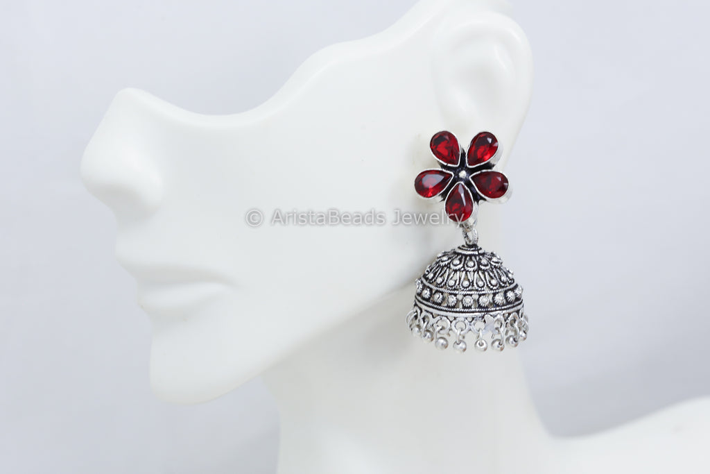 Small Red Stone Jhumka