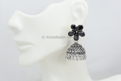 Small Black Stone Jhumka