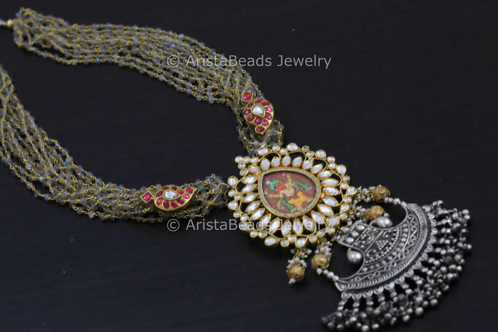 925 Fusion Kundan Necklace In Silver Labradorite Chains