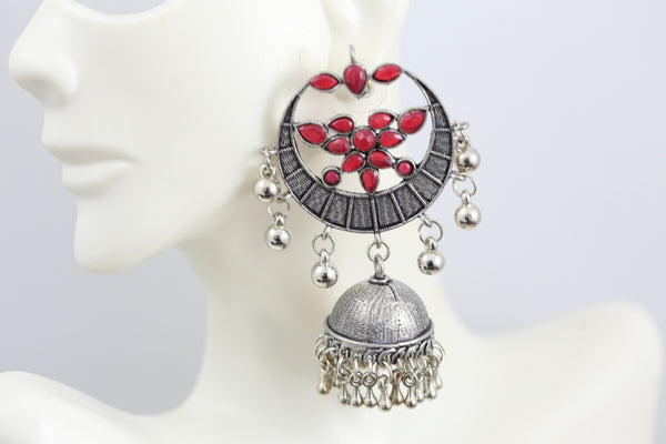 Red Silver Tone Earring