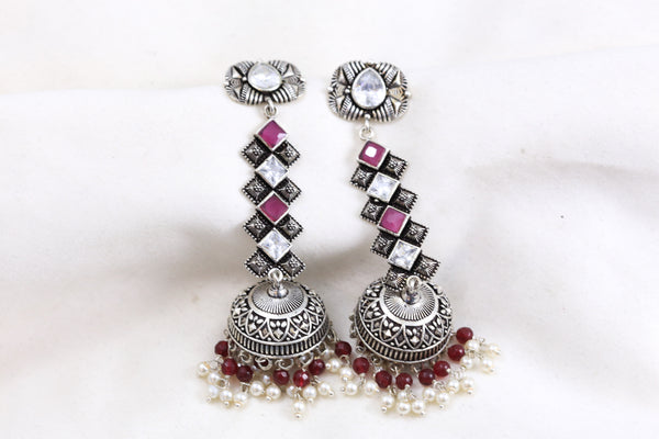 Silver Look Ruby Clear Jhumka