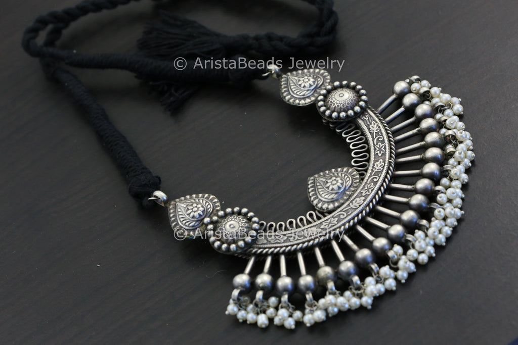Large Silver Look Oxidized Pendant - Black Thread